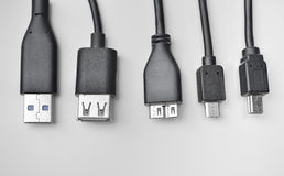 USB, Mini-USB And Micro-USB Cable Royalty Free Stock Photos