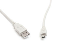 Usb and mini-usb plugs isolated. Royalty Free Stock Images