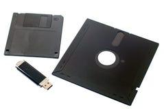 usb-minne 5 tum diskett 3 tum diskett Royaltyfri Fotografi