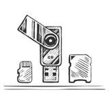 USB-minnet och den drog handen för minneskort skissar Royaltyfri Illustrationer