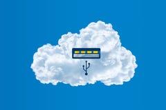 Usb-moln, beräknande begrepp för moln Arkivbild