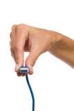 (0) usb 3 (0) nasadek w kobiety ręce Obrazy Stock