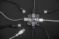 USB nav och USB utrustninganslutningen Arkivfoto