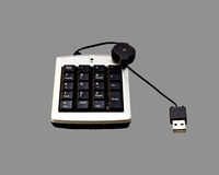 USB Numeric keyboard isolate on 50% Gray Royalty Free Stock Photo