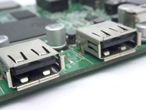 Usb output port. Usb output with the ic board close up Royalty Free Stock Photography