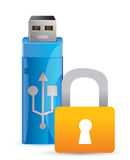 Usb padlock and flash drive as key Royalty Free Stock Photography