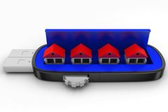 Usb Pen drive And Houses Royalty Free Stock Photo