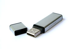 Usb pendrive 2. Usb pen drive with cap on white background Stock Photos