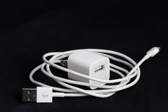 USB phone power charger on black background Stock Photo