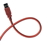 USB Plug and cable including clipping path Stock Photography