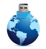 USB plug made as an extension of earth globe. Illustration design Stock Photos