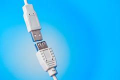 Usb plugs on blue Royalty Free Stock Photo