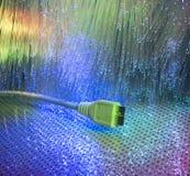 USB 3 plugs closeup with fiber optical Royalty Free Stock Image