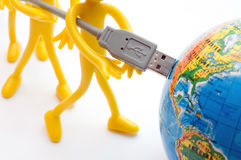 USB plugs into earth. Conceptual Stock Photos