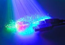 USB plugs and fiber optical Stock Images