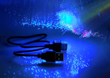 USB plugs and fiber optical Stock Photos