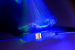 USB plugs and fiber optical Stock Photos