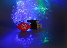USB plugs and fiber optical Stock Photography