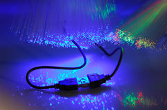 USB plugs and fiber optical Stock Photography