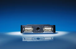 USB port. On blue/white background Royalty Free Stock Photos