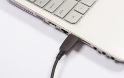 USB port av en bärbar dator Arkivfoton