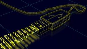 USB port with binary code shows data transfer Stock Photos