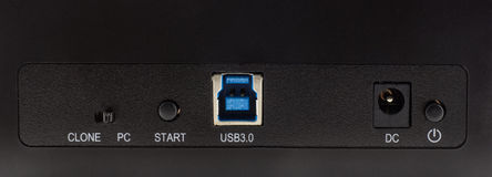 USB port and dc port Stock Photo