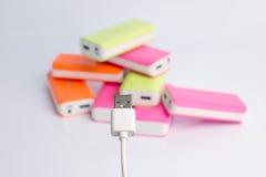 USB port för maktbanker Arkivfoton
