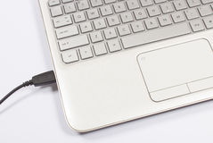 USB port of a laptop Stock Images