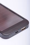 USB port on the solar power bank device Stock Photo