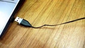 USB proppdrev skallr, i satt till sikten för bärbar datorstålarsidan på wood stic Royaltyfri Fotografi