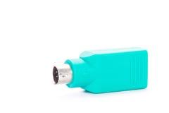 USB PS2 wtyczkowy adaptator odizolowywający na białym tle Zdjęcie Stock