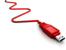 Usb red cable on white background Stock Photo