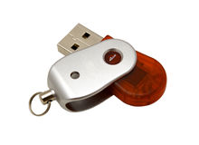 USB red and silver pendrive. USB pendrive isolated on white background Stock Photos
