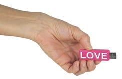 USB rempli d'information sur l'amour Images stock