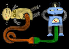 USB Sex. Two funny robots making love via usb cable Royalty Free Stock Images