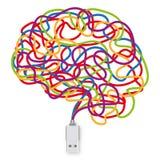 USB-Sockel mit einer Vielzahl farbigen Drähten, die ein Gehirn bilden vektor abbildung
