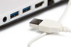 USB som förbinder till bärbara datorn Arkivfoton