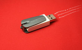 USB stick. Photo of a USB stick with data flowing out of it Stock Photography