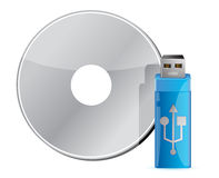 USB stick on CD stack Stock Photos