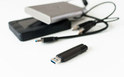 Usb stick and external hard discs Stock Photography