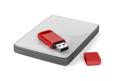 Usb stick and external hard drive. On white background Stock Images