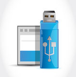 Usb stick and memory card illustration design Stock Image