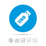 Usb Stick sign icon. Usb flash drive button. Royalty Free Stock Images