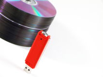USB Stick and Stack of CDs Royalty Free Stock Photo