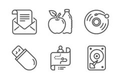 Usb stick, Vinyl record and Journey path icons set. Mail newsletter, Apple and Hdd signs. Vector. Usb stick, Vinyl record and Journey path icons simple set. Mail royalty free illustration