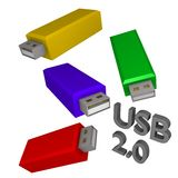 Usb sticks colorfull 3d Stock Images