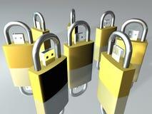 Usb Storage. Clone gold Padlock usb storage security Royalty Free Stock Image