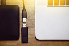 Usb storage data, flash drive and external hard disk. Royalty Free Stock Image
