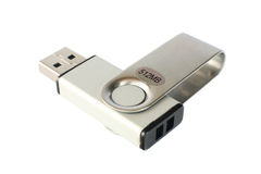 USB storage device. Isolated on white stock photography